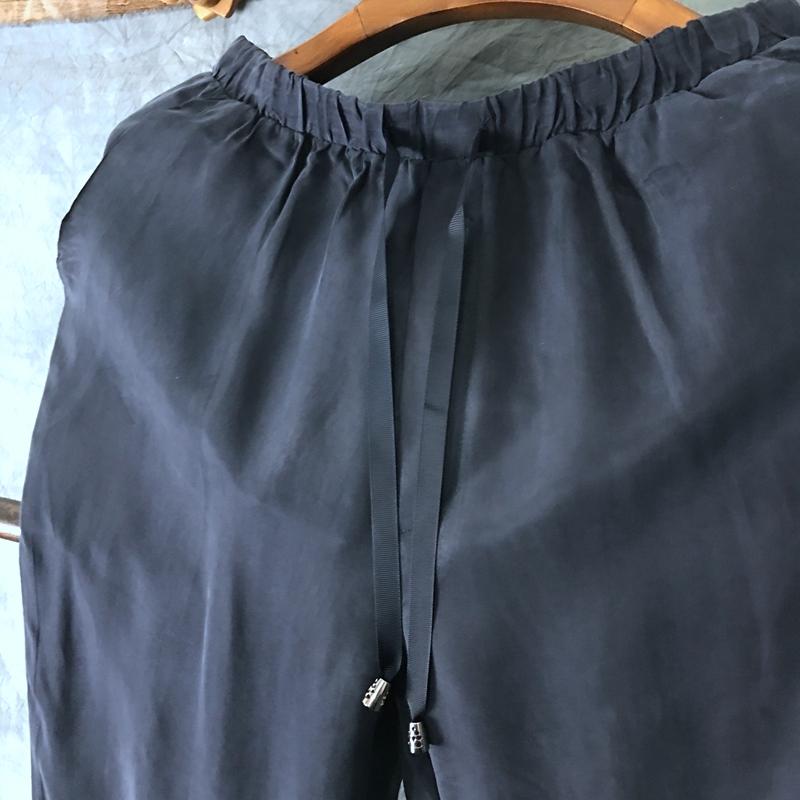 Mùa hè của nam giới quần phần mỏng lụa quần âu đàn hồi eo quần lụa nam kích thước lớn lụa lụa chân quần của nam giới quần áo