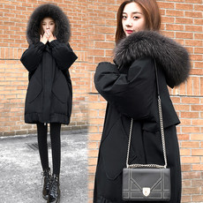 White duck down with thick down jacket female 2019 new fashion winter Korean version of the long baggy thin large size coat