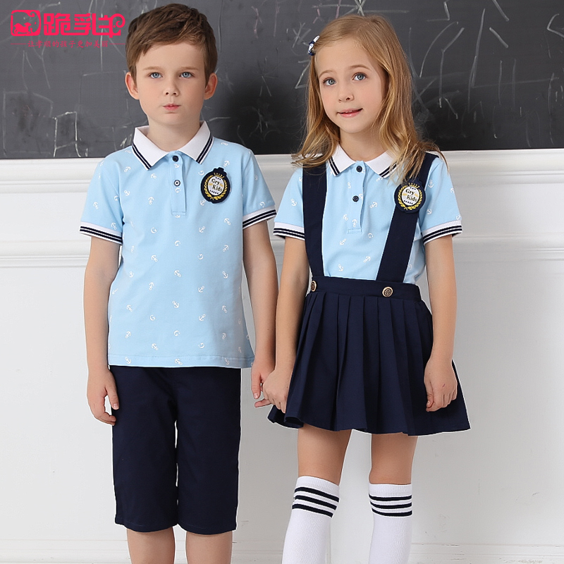 c9e2c1df185 Summer school uniform suit college wind boys and girls short-sleeved  primary and secondary school students class clothes kindergarten clothes  summer dress