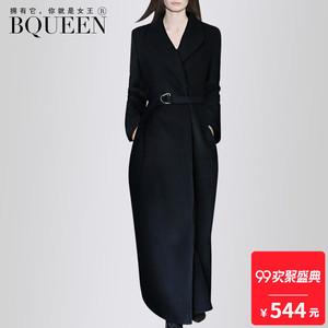 Giải phóng mặt bằng] 2017 mùa đông mới Châu Âu và Mỹ tính khí thời trang ve áo eo vành đai dài áo len áo khoác nữ