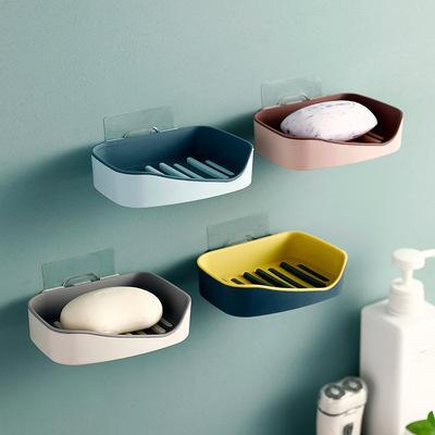 北欧风撞色双层壁挂沥水肥皂盒无痕镂空香皂盒收纳肥皂架