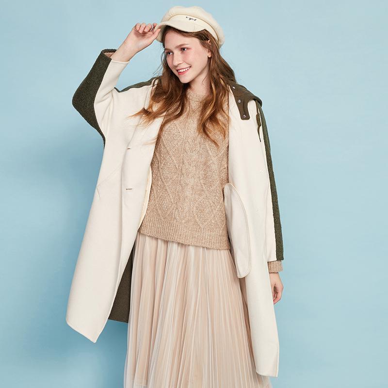 阿卡2019冬季新韩版流行撞色时尚双面呢羊毛大衣中长款毛呢外套