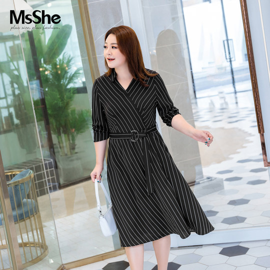 MsShe large size women new Autumn 2019 MM cover belly big V-waist dress Kuotai Tai M1902019