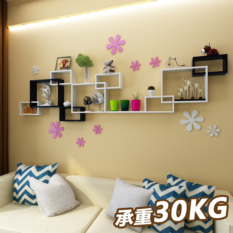 Wall shelves free punch TV wall decoration living room background ...