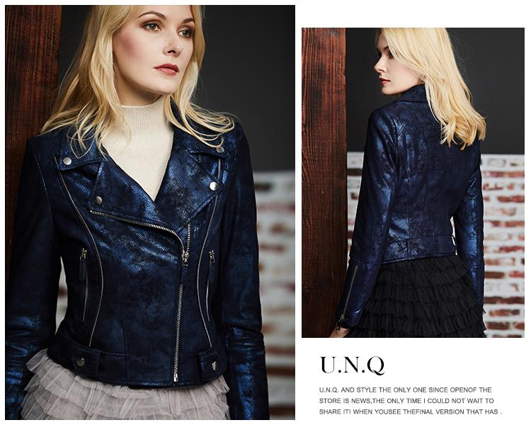 U.N.Q. Light luxury tone high-level sense of starry sky blue pearly sheepskin trim short model locomotive leather coat girl 50 Online shopping Bangladesh