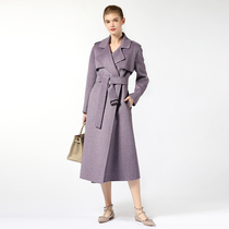 Hepburn wind purple Albaka double cashmere coat female medium length 2