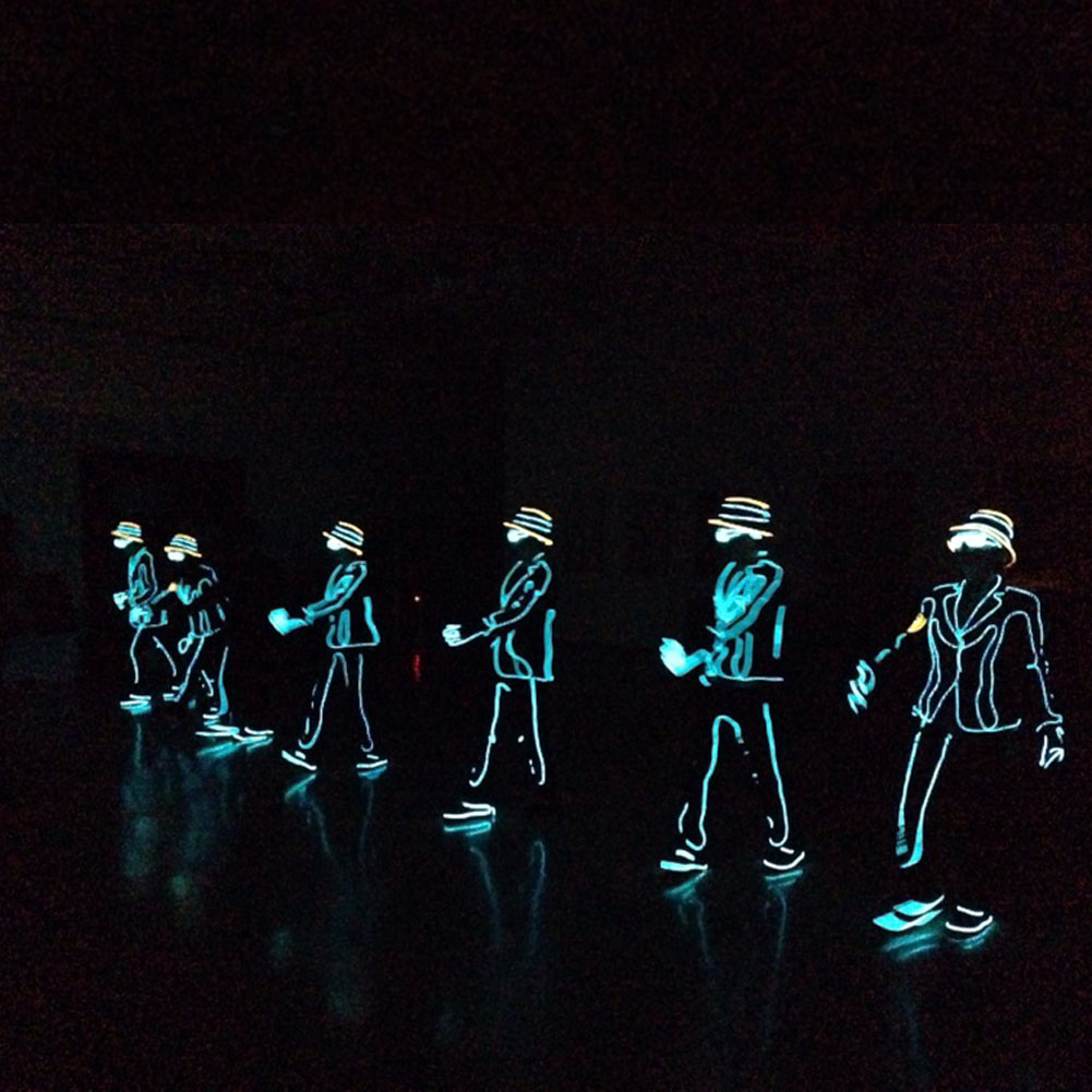 LED Neon EL Wire Tube Costumes Luminous Clothes Dancing Party Stage ...