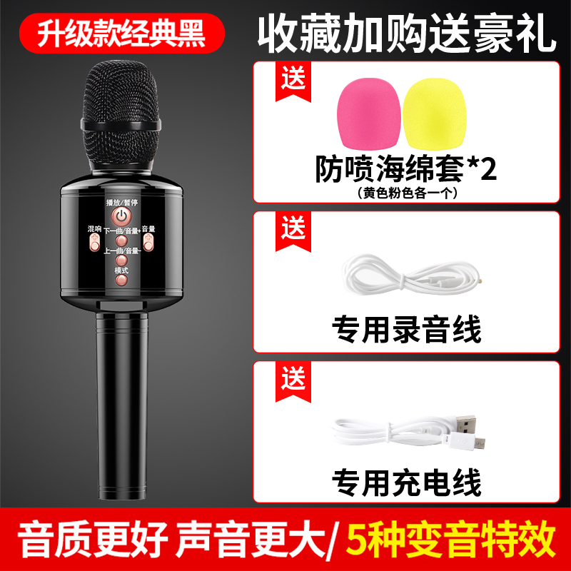 Upgraded Classic Black [k Song Recording Cable + Blowout Sponge Cover]