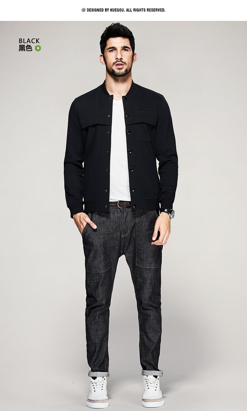 [] Kuegou Nam Cardigan Áo Len Nam Mùa Xuân Hàn Quốc Slim Jacket Casual Bóng Chày Phù Hợp Với 7010