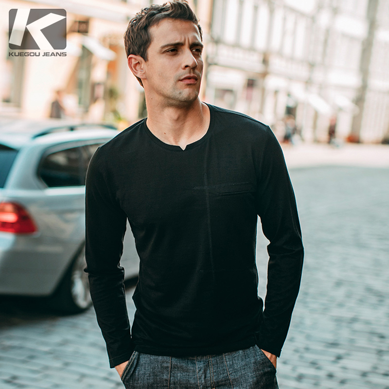 Special] Spring men's long-sleeved T-shirt men's round neck simple trend black bottoming shirt shirt male 1827