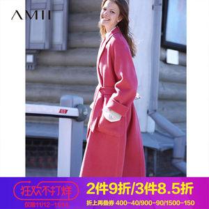 Amii极简韩版森系阿尔巴卡羊毛双面呢外套2018秋季新宽松长款大衣