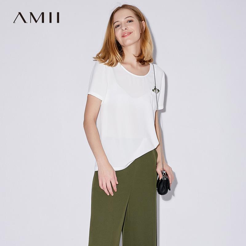 Amii[极简主义]夏装2018新款女镂空V领玫瑰刺绣雪纺T恤11773017