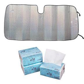 汽车防晒隔热遮阳板+3包原木抽纸