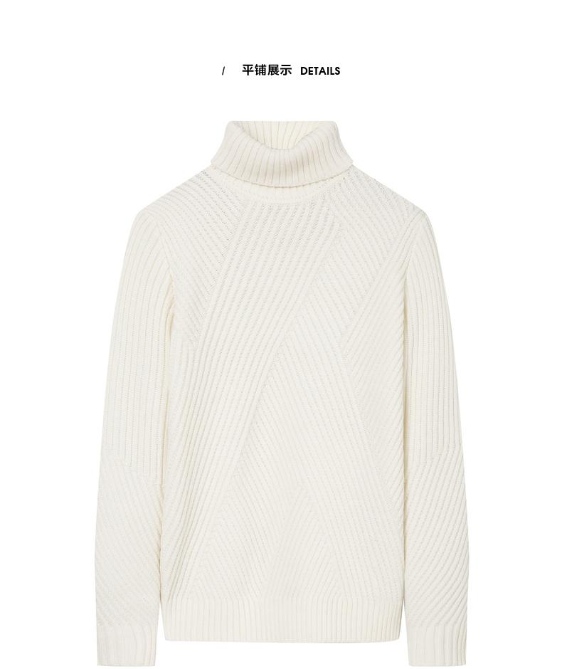 174210358 GXG nam 2017 mùa đông mới xu hướng thời trang giản dị thoải mái trắng cao cổ áo len