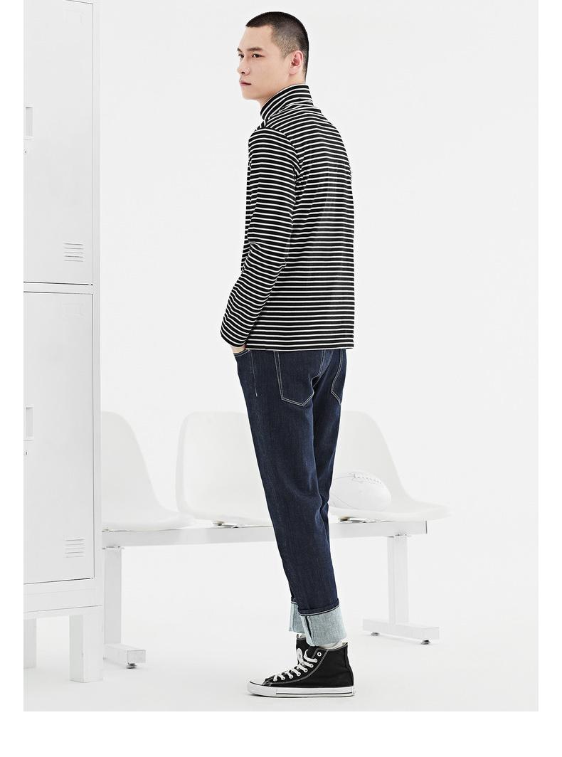 GXG nam mùa xuân bán màu đen và trắng dải xu hướng thời trang cao cổ áo dài tay áo t-shirt # 171134070 áo cotton