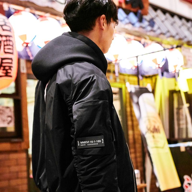 GXG男装 2017秋季新品时尚潮流黑色棒球领夹克外套男#173821009