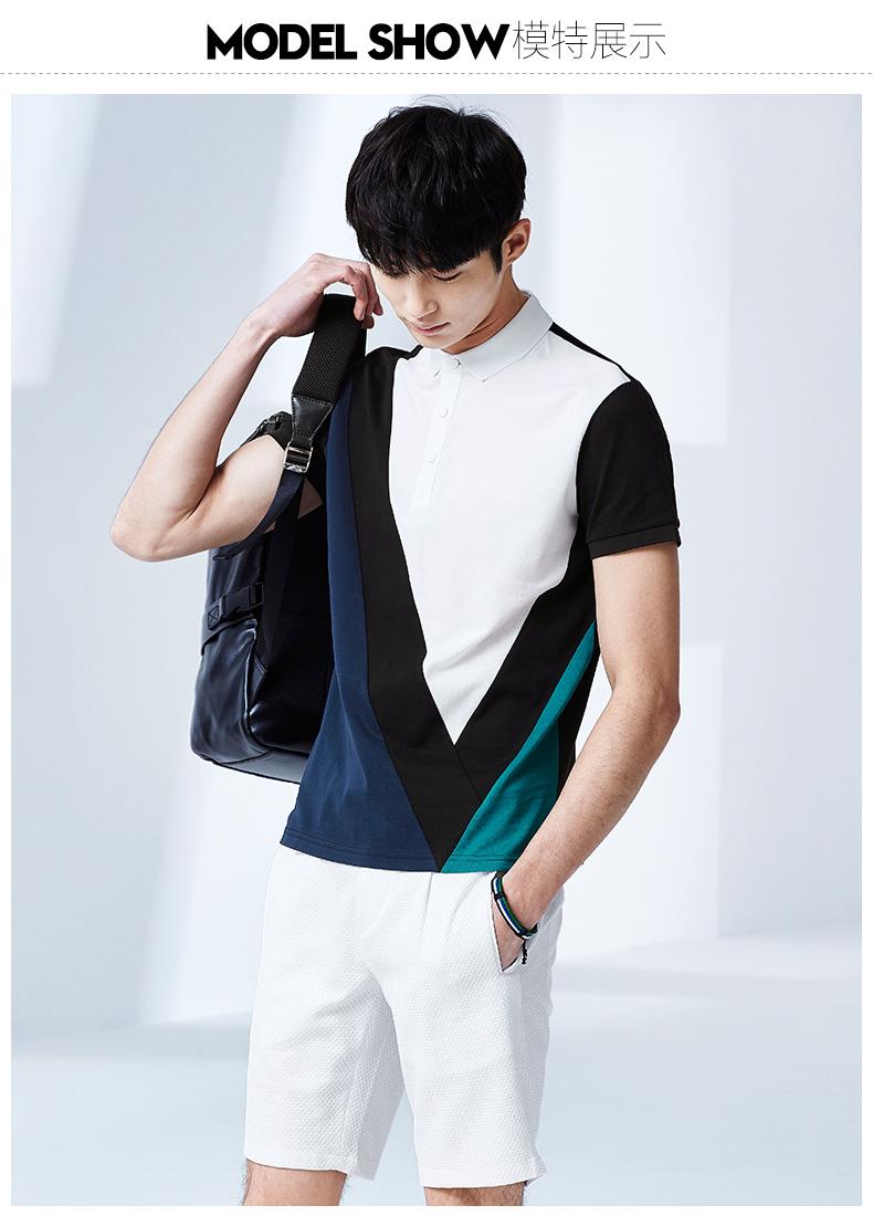 GXGPOLO áo sơ mi nam mùa hè của nam giới thời trang casual đô thị phổ biến đen hình học ngắn tay POLO áo triều áo polo trắng