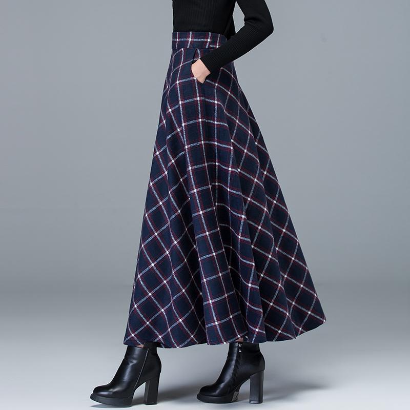 2018秋冬款女毛呢裙格子长裙裙半身大摆裙过膝中长款花色大码气质