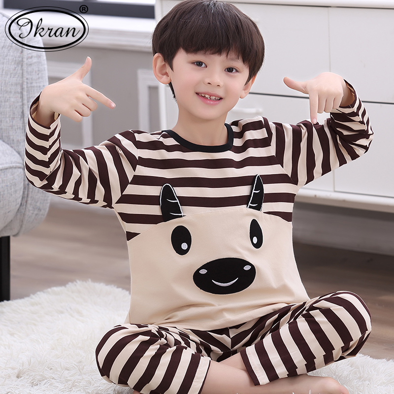 f4479e8bc0 Children s pajamas boys long-sleeved cotton spring and autumn cartoon boys  pajamas large children s home