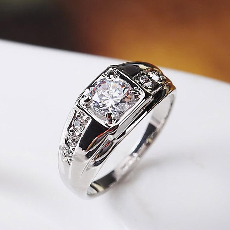 银子男潮925银白金v银子男士戒指镀18k单身钻戒纯银宽钻石戒男戒