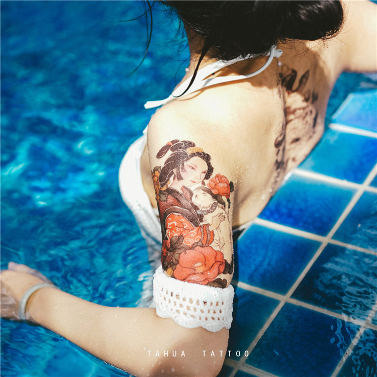 af770f3199b8a ... Tahua her painting ukiyo-e back tattoo stickers female thighs ins  waterproof male lasting Japanese ...