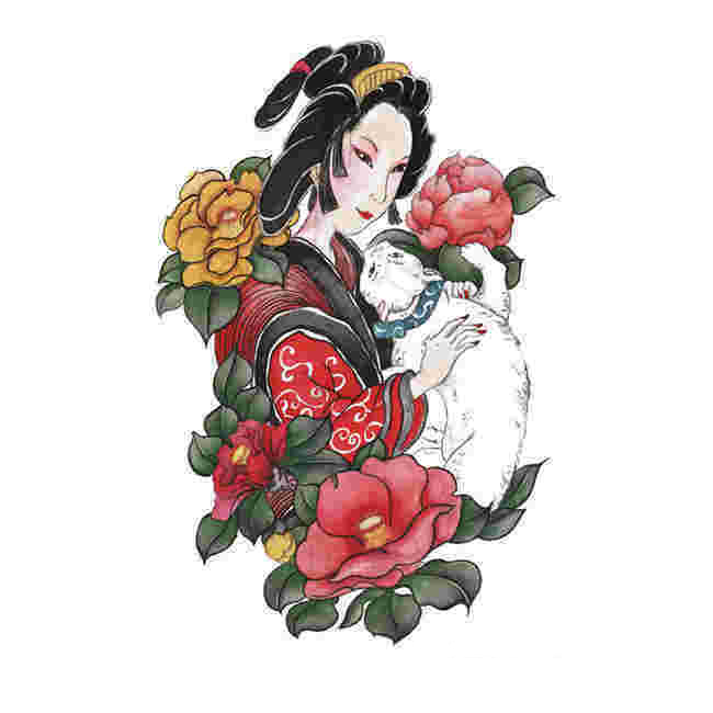 300352186f635 ... Tahua her painting ukiyo-e back tattoo stickers female thighs ins  waterproof male lasting Japanese