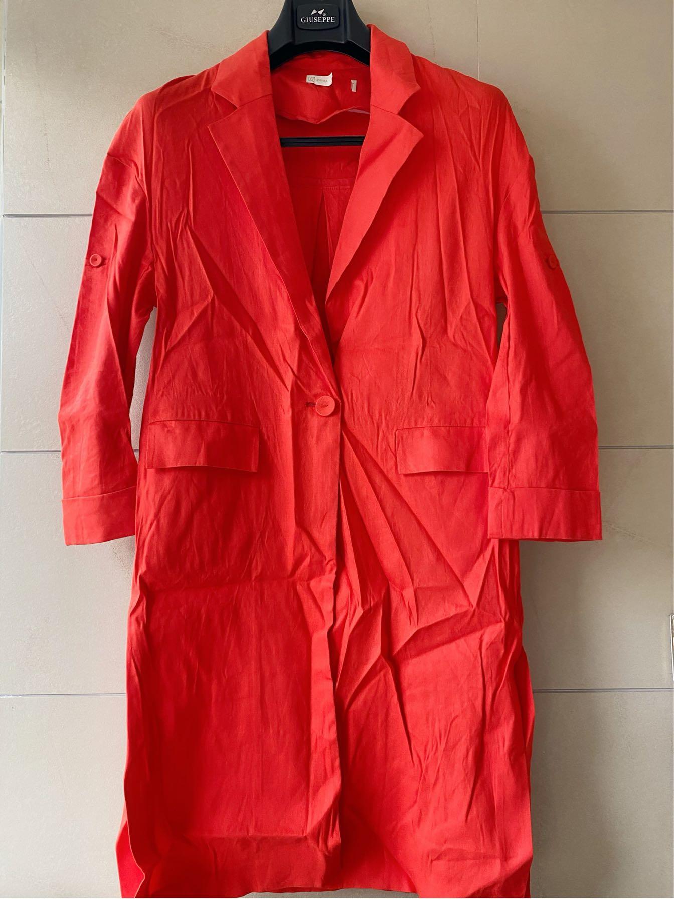 Mùa xuân và mùa thu vải lanh lớn màu đỏ trong áo khoác dài áo khoác vải lanh áo khoác gió áo khoác nữ thương hiệu giảm giá quần áo phụ nữ - Trench Coat