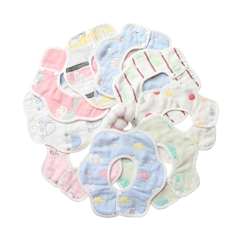 婴宝童口水巾纯棉婴儿防水围嘴围兜360度新生宝宝防吐奶夏季薄款