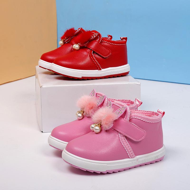 2017女童靴兔毛珍珠儿童雪地靴短靴宝宝兔子保暖棉加绒魔术贴棉鞋