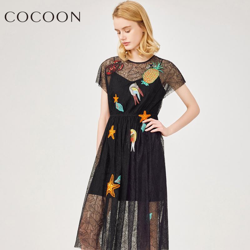 可可尼2018夏裝新品女裝水果貼布松緊腰鏤空蕾絲兩件套連衣裙
