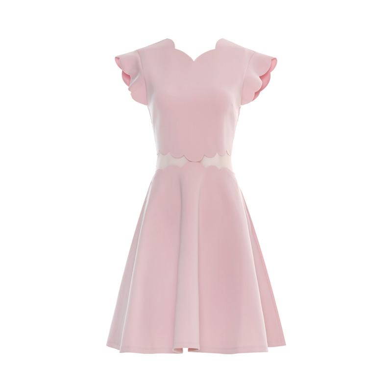 DPLAY De Pala 2018 mùa hè mới châu Âu và Mỹ V-cổ cánh hoa hồng tay áo lưới sợi khâu Luyao váy váy lớn