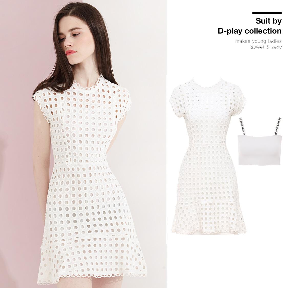 Mùa hè mới Châu Âu và Mỹ vòng cổ trắng ngắn tay áo eo dress vòng tròn hollow ren ren váy