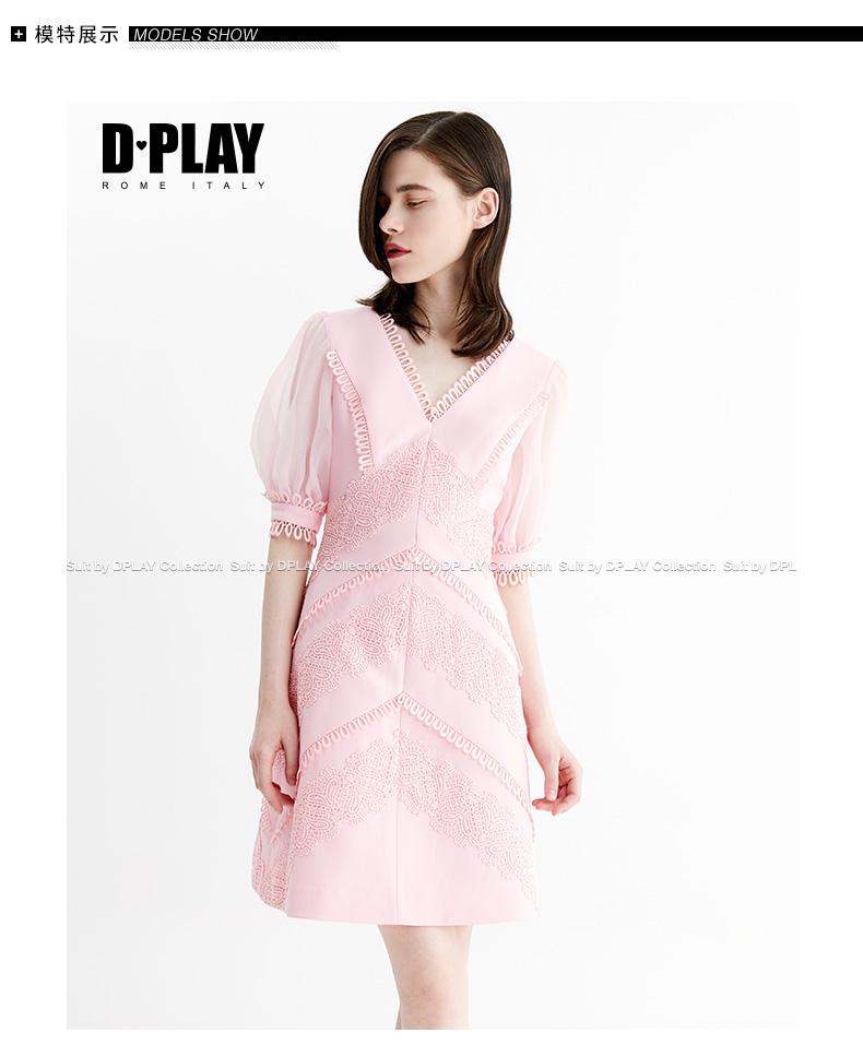 DPLAY2018 mùa hè mới Châu Âu và Mỹ hồng V-Cổ puff tay áo slim dress ren khâu váy thoi trang nu