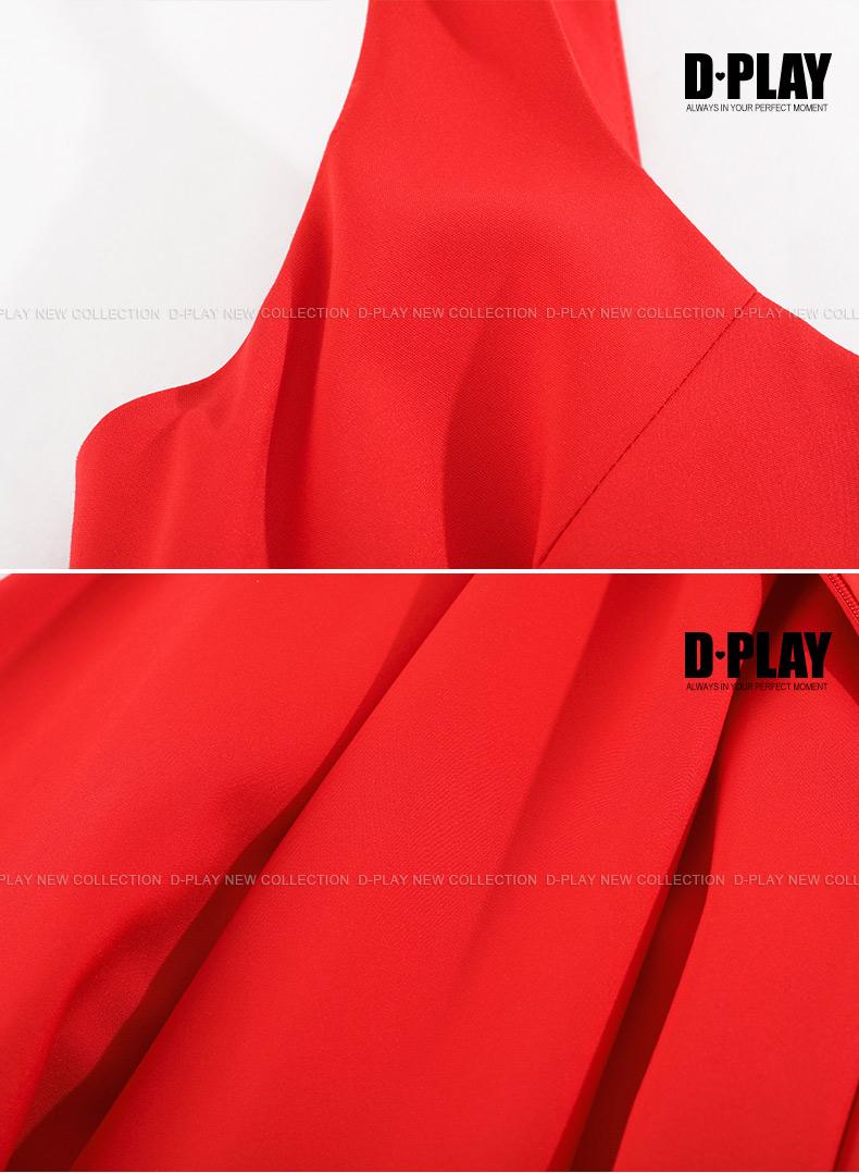 DPLAY mùa hè mới châu Âu và Hoa Kỳ đỏ tay Swing một hem váy khâu hit eo cao đầm