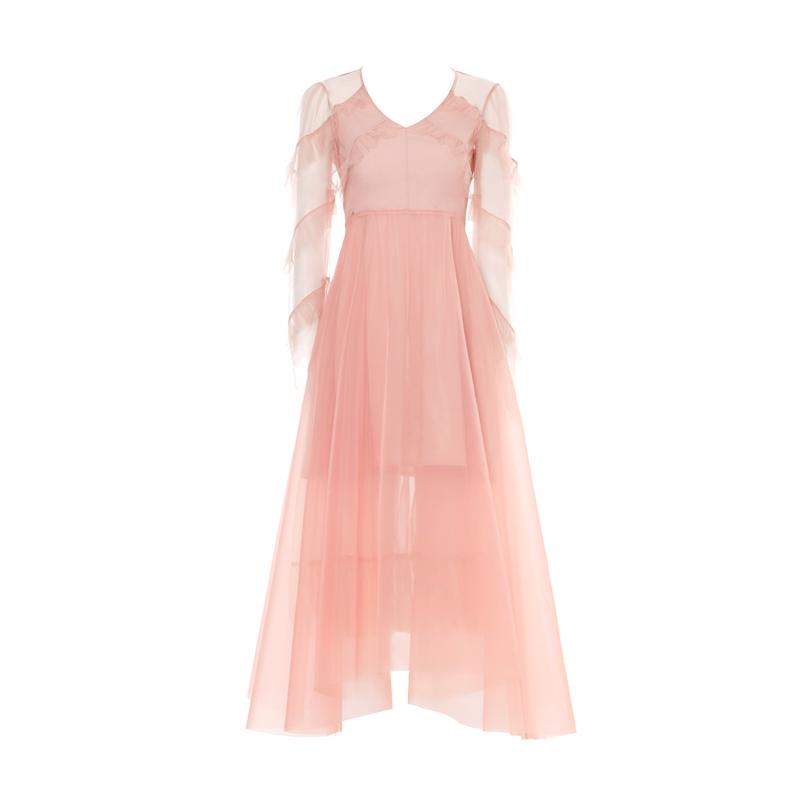DPLAY2018 mùa hè mới Châu Âu và Mỹ hồng V-Cổ tai cao eo lưới váy thanh lịch tuổi-giảm váy