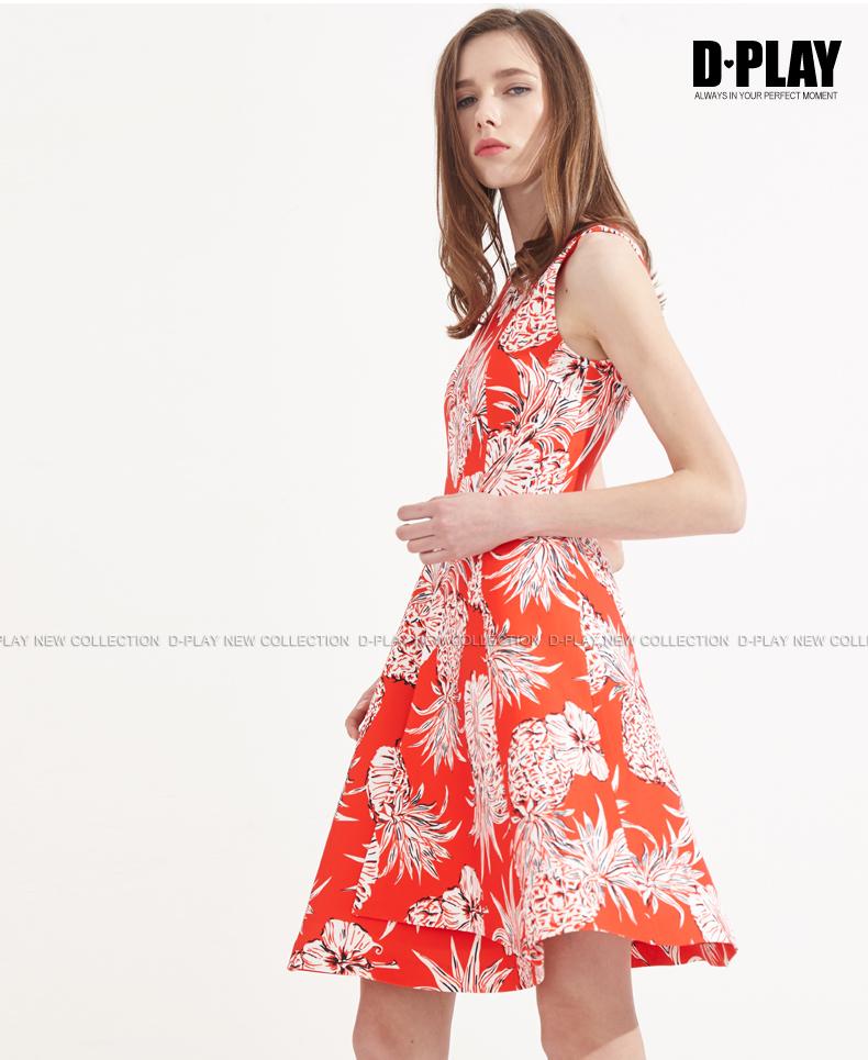 Mùa hè mới châu Âu và Mỹ dứa thời trang in mỏng đầm không tay eo cao một chiếc váy đỏ