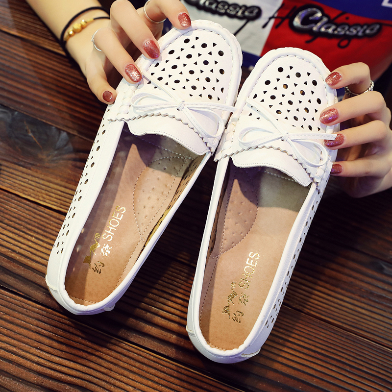 7718d4af393ad White nurse sandals summer new flat bottom beef tendon bottom hole mother  shoes hollow breathable non-slip pregnant ...