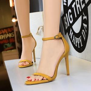 X-21340# 欧美风夏季时尚简约细跟高跟一字带高跟鞋性感夜店凉鞋女鞋