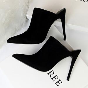 X-21356# 欧美风时尚简约超高跟性感显瘦绒面尖头深口拖鞋女鞋半拖鞋