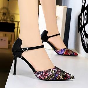 X-21881# 欧美风性感夜店中空高跟鞋细跟高跟浅口尖头镂空一字带凉鞋 女鞋批发鞋子批发
