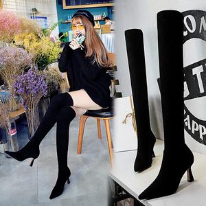 X-22740# 欧美风时尚性感夜店显瘦长筒靴酒杯跟高跟尖头绒面过膝长靴 鞋子批发