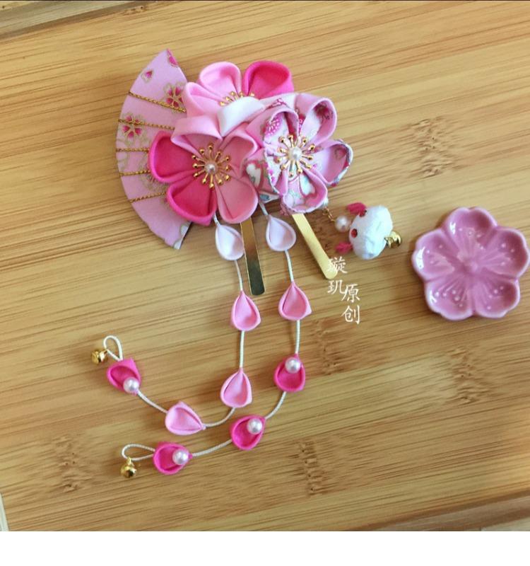 Lolita Sakura Rabbit Tsumami zaiku Hair Clip Japanese for Kimono Hanfu