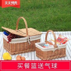Picnic supplies prepared net red picnic picnic basket woven portable small basket ins idyllic spring travel vegetable blue flower basket