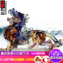 Gifts Pixiu Glass Decoration A pair of handicraft home living room Xuan Guan