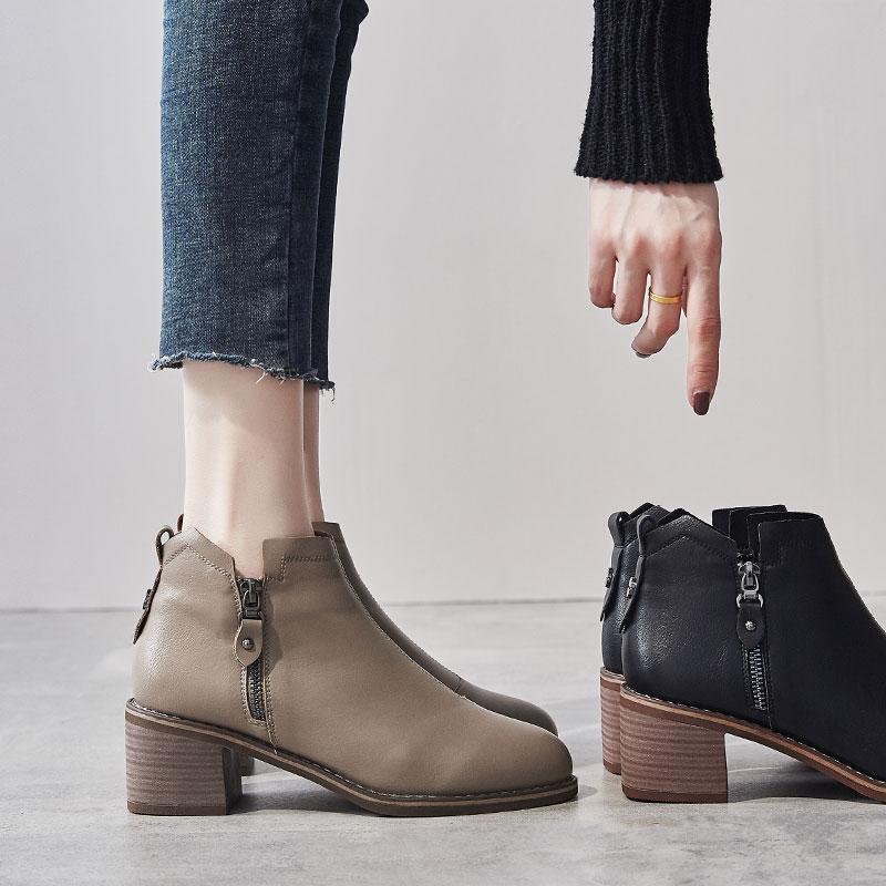 Giày cao gót nữ 2019 mới mùa đông giày nữ retro phong cách Anh Martin Martin hoang dã cộng với nhung dày gót ngắn nữ - Giày ống
