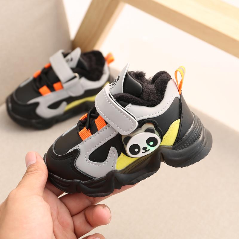 冬季男宝宝运动鞋0-2岁1软底防滑棉鞋学步鞋闪灯a宝宝加绒女童小童