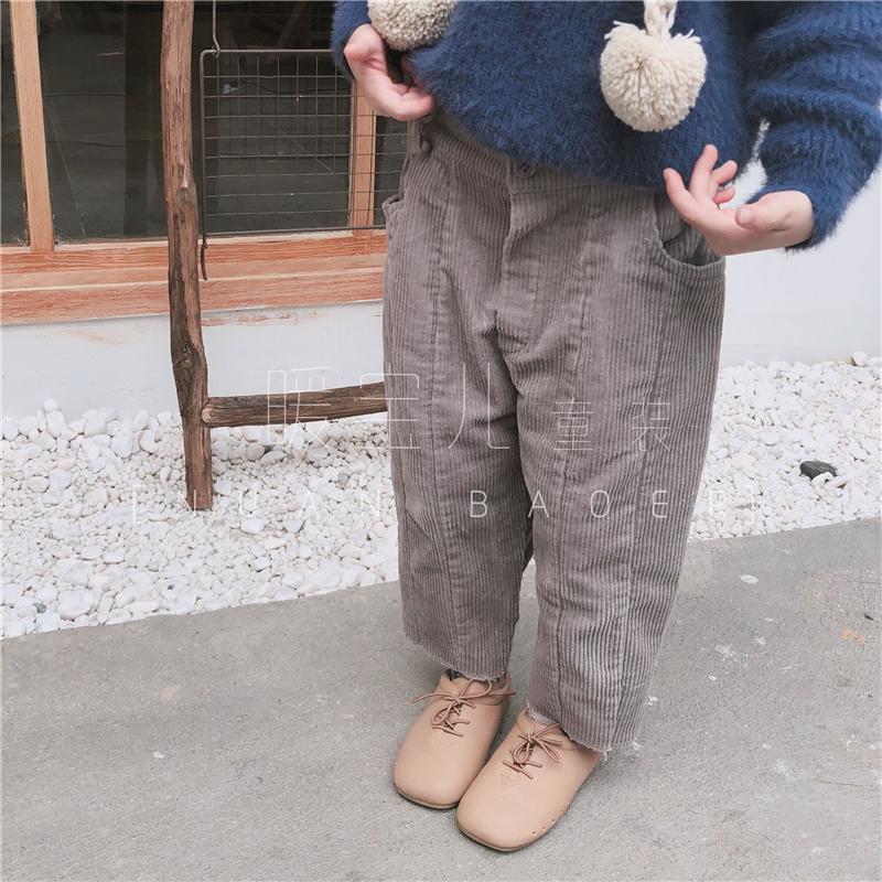 2018冬装新款儿童韩国腔调男女童装加绒灯芯绒哈伦裤萝卜裤长裤子