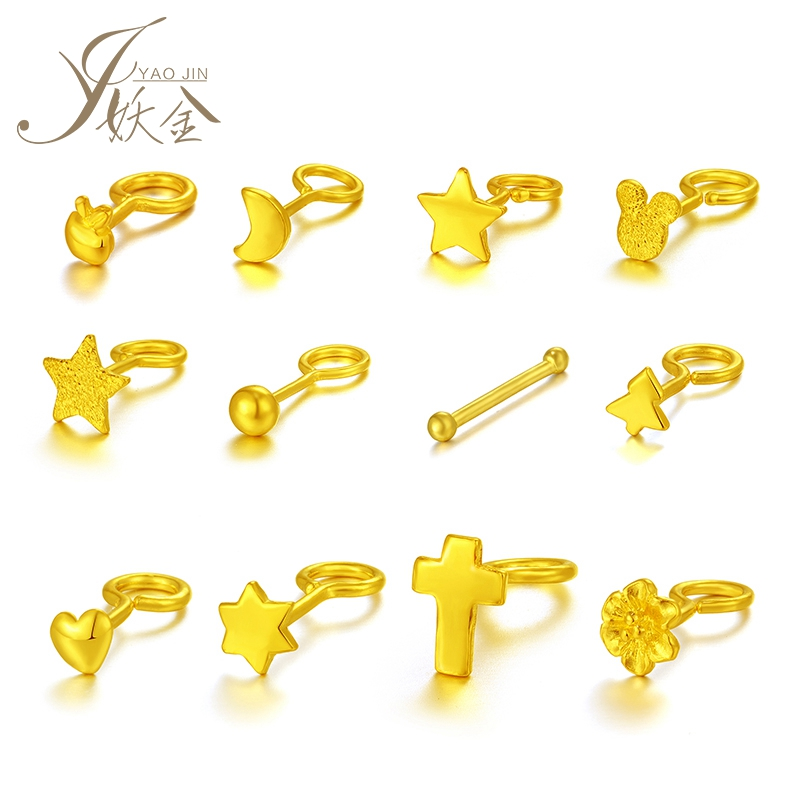 USD 14.29] Witch Golden Earring Female 999 Gold ear stick 24K gold ...