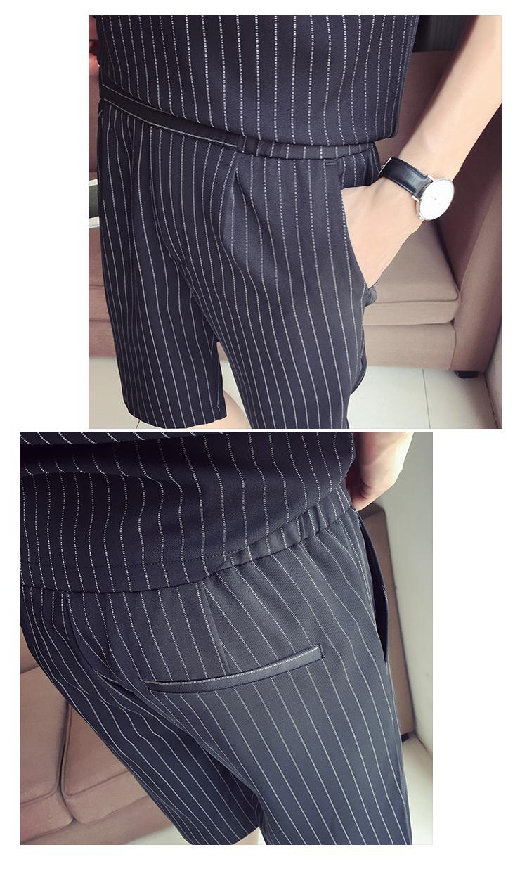 Mùa hè sọc ngắn tay áo thun của nam giới phù hợp với phiên bản Hàn Quốc của xu hướng giản dị hoang dã đẹp trai áo polo ve áo bộ quần áo