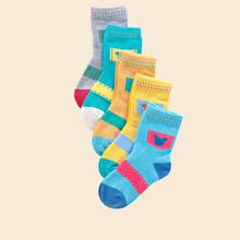 【5双】纯棉儿童袜秋冬加厚中筒袜